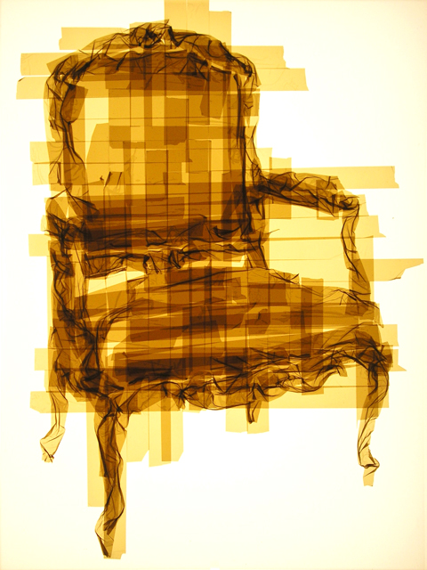 Mark Khaisman, Louis XV chair. Packing tape on clear plexiglass. galleryIntell Volta Show