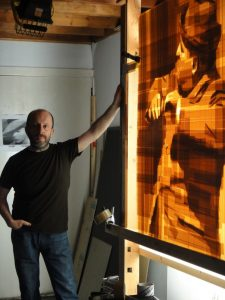 Artist Mark Khaisman in his Philadelphia studio where he created his packing tape art on clear plexi glass boxes.