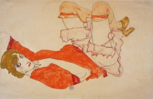 Egon Schiele - Wally In Red Blouse With Raised Knees