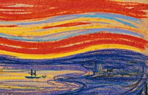 Edvard Munch, 'Red Sky and Sail Boat'