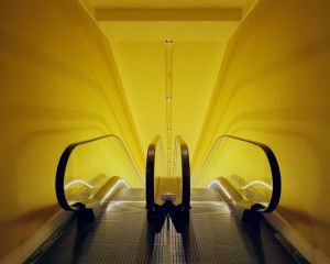 Michael Eastman, Golden Escalator, Tokyo. Image courtesy Barry Friedman Gallery, © Michael Eastman