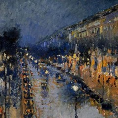 Pisarro - the-boulevard-montmartre-at-night-1897
