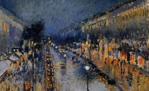 Pisarro - the-boulevard-montmartre-at-night-1897