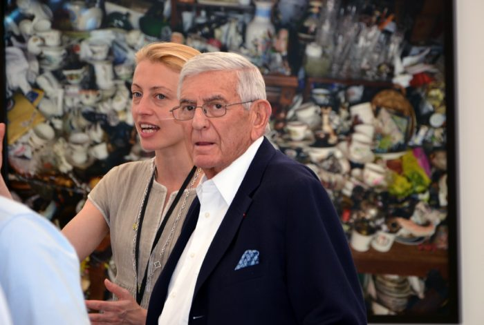 Veronique Ansorge, Associate Director at David Zwirner Gallery is showing Eli Broad around the fair. Image © Kristina Nazarevskaia