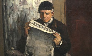 "Paul Cézanne (French, 1839 - 1906 ), The Artist's Father, Reading ""L'Événement"", 1866, oil on canvas, Collection of Mr. and Mrs. Paul Mellon"