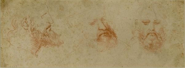 Leonardo da Vinci - Three Views of a Bearded Man