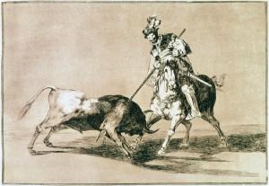 El Cid Campeador Lanceando otro toro, Tauromaquia - Goya