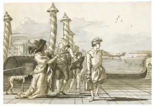 GIovanni Domenico Tiepolo, Venice Incontro al Molo: A 'Codega' Showing the Way to a Noble Couple on a Molo