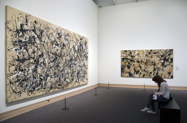 Jackson Pollock (left) and Conrad Marca-Relli (center-right) at the Metropolitan Museum. Photograph © Kristina Nazarevskaia