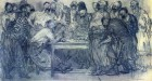 Ilya Repin, Zaporozhtsy, charcoal sketch 1878