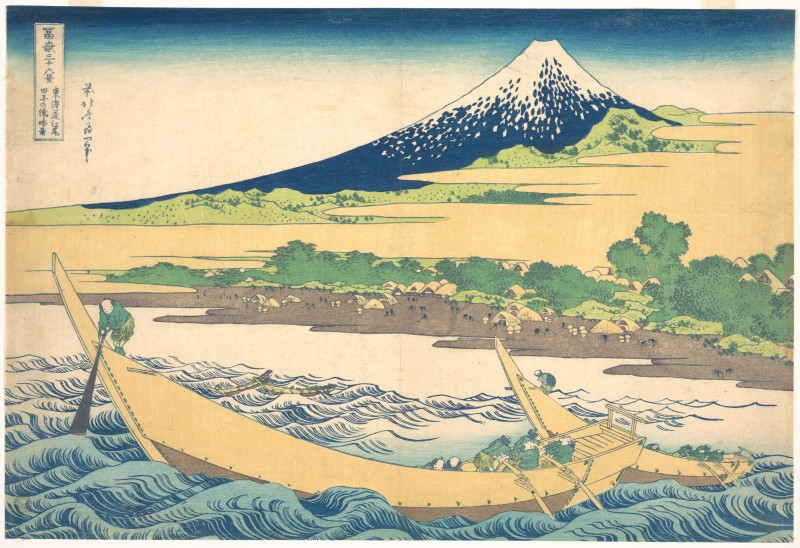 Tago Bay near Ejiri on the Tōkaidō (Tōkaidō Ejiri Tago no ura ryaku zu), from the series Thirty-six Views of Mount Fuji (Fugaku sanjūrokkei), 1830-32