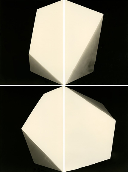 Lumière Lumitra, exact expiration date unknown ca. 1960, processed in 2014  From the series Fours  Gelatin Silver Print  9.5″ × 7″ each element Unique  © Alison Rossiter, Courtesy Yossi Milo Gallery, New York