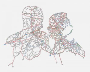"Couple: Boston, MA, 11""X14"", Hand cut road map, 2009"