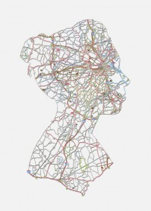 "Kim: Boston, MA, 20""X16"", Hand cut road map, 2013"