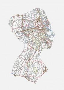 """Kim: Boston, MA, 20""""X16"""", Hand cut road map, 2013"""