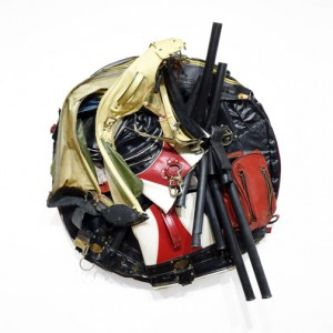 Charles McGill, Crash (Tondo) 2015, Reconfigured golf bags 36""