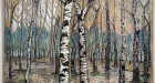 Billy Childish, Birch Tree Forest, ol and charcoal on linen