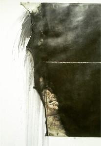 (Detail) Stream, Hauser & Wirth, London, 1984—2013 Graphite pencil on paper 150 x 1000 cm / 59 x 393 3/4 in Pictured at Espace Bateau Lavoir, Paris, France, 1984