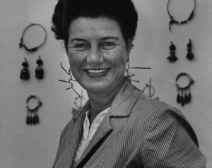 Peggy Guggenheim, wearing Alexander Calder earrings