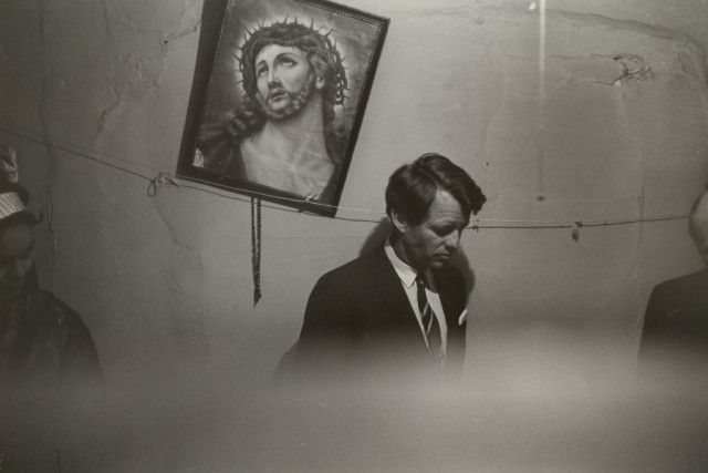 Fred W. McDarrah Robert Kennedy in Slum Apartment, May 8, 1967 Vintage gelatin silver print. Image courtesy Steven Kasher Gallery