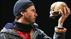 David Tennant uses the scull of Andre Tchaikovsky in the recent production of Hamlet at the Royal Shakespeare Company in London