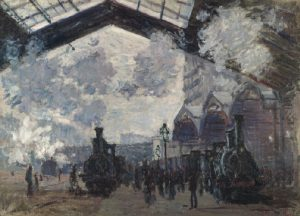 Claude Monet, 'Gare Saint-Lazare' 1877. In the collection of The National Gallery, London