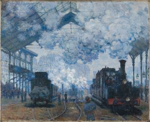 Claude Monet, 'Arrival of a Train, Gare Saint-Lazare', 1877. In the collection of the Harvard Art Museum