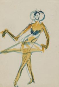 Ernst Ludwig Kirchner 'Costumed Female Dancer' 1910. Watercolor and graphite on thin cream wove paper. Image courtesy Galerie St. Etienne