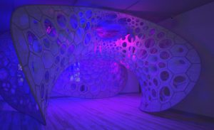 PolyThread knitted textile pavilion, 2015-16; Designed by Jenny E. Sabin, Jenny Sabin Studio; Design Team: Martin Miller, Charles Cupples; Fabricated by Shima Seiki, WHOLEGARMENT. Image courtesy Cooper Hewitt Museum