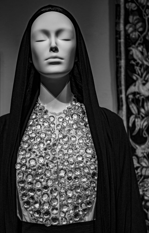 "Ricardo Tisci. Ensemble, autumn/winter 2005-06. Black silk jersey, white cotton poplin, embroidered glass stones. ""Heavenly Bodies: Fashion and the Catholic Imagination"". ©Kristina Nazarevskaia for galleryIntell"