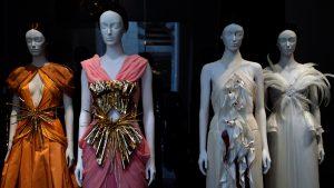 "Rodarte. Ensembles, 2011. Silk satin trimmed with beige feathers. ""Heavenly Bodies: Fashion and the Catholic Imagination"". ©Kristina Nazarevskaia for galleryIntell"